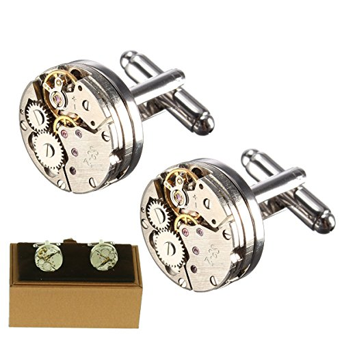 Magic show Deluxe Steampunk Vintage Watch Movement Shape Cufflinks for Men Includes Gift Box