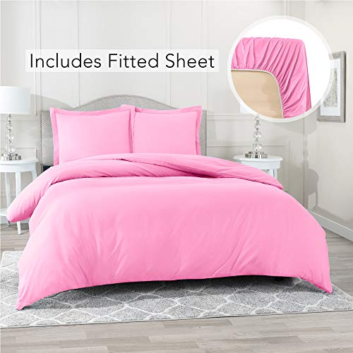 Nestl Bedding Duvet Cover with Fitted Sheet 3 Piece Set - Soft Double Brushed Microfiber Hotel Collection - Comforter Cover with Button Closure, Fitted Sheet, 1 Pillow Sham, Twin XL - Light Pink (Pillow Double And Duvet Set)
