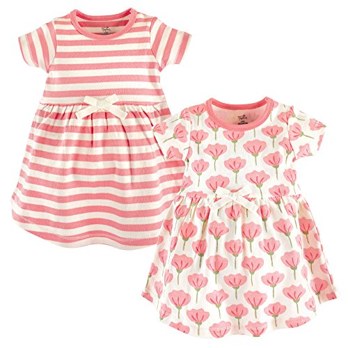 Touched by Nature Baby Girl Organic Cotton Dresses, Tulip Short Sleeve 2-Pack, 4 Toddler (4T)