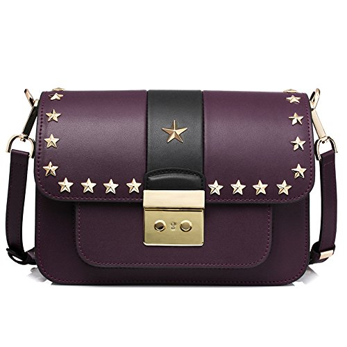 Gwqgz Bag Shoulder Bag New Fashion Five Star Rivets Violet Violet Corner