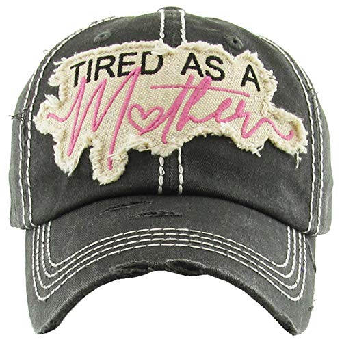 H-212-TAAM06 Distressed Baseball Cap Vintage Dad Hat - Tired As A Mother (Black) (Baseball Sayings)