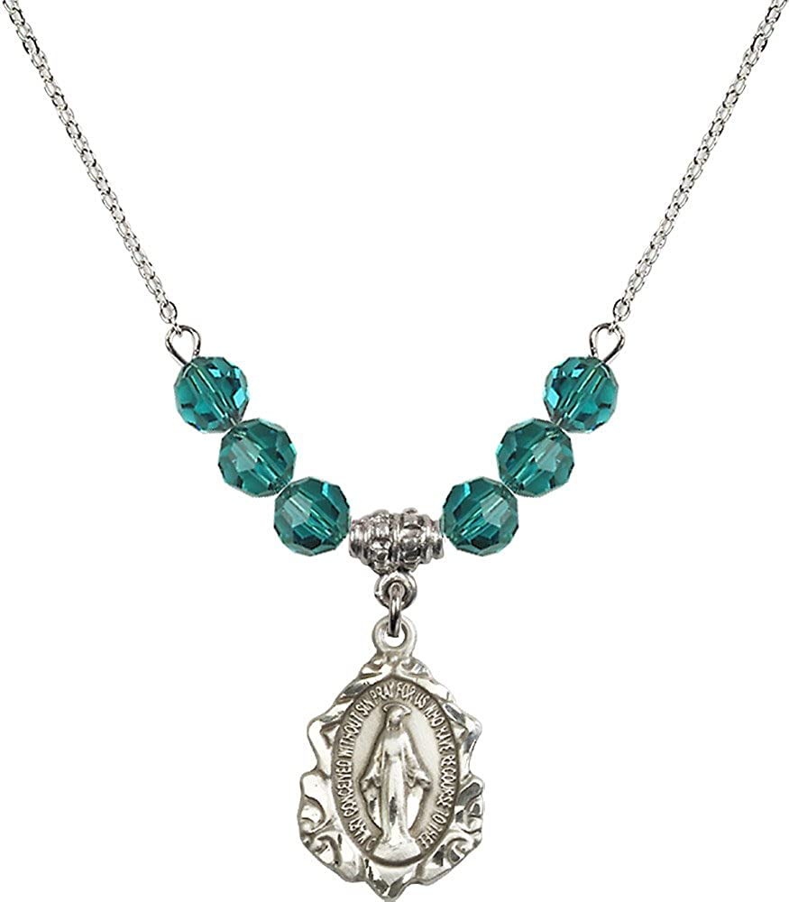18-Inch Rhodium Plated Necklace with 6mm Zircon Birthstone Beads and Sterling Silver Miraculous Charm.