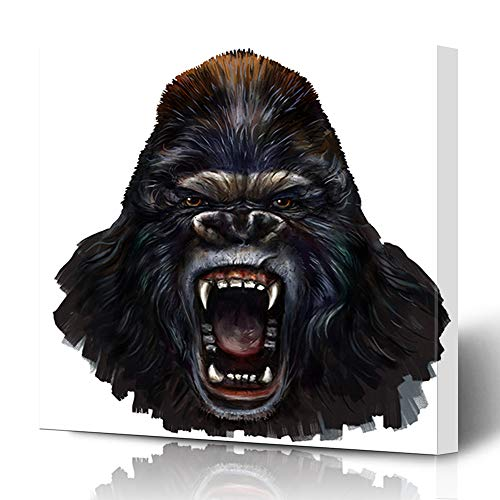 Ahawoso Canvas Prints Wall Art 12x16 Inches Wild Brown Kong Gorilla Scream Digital Painting Face King Silver Angry Head Brush Draw Decor for Living Room Office Bedroom ()