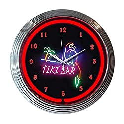 Neonetics Indoor Hand Blown Tiki Bar Neon Clock Black Red Round Chrome Glass Finish