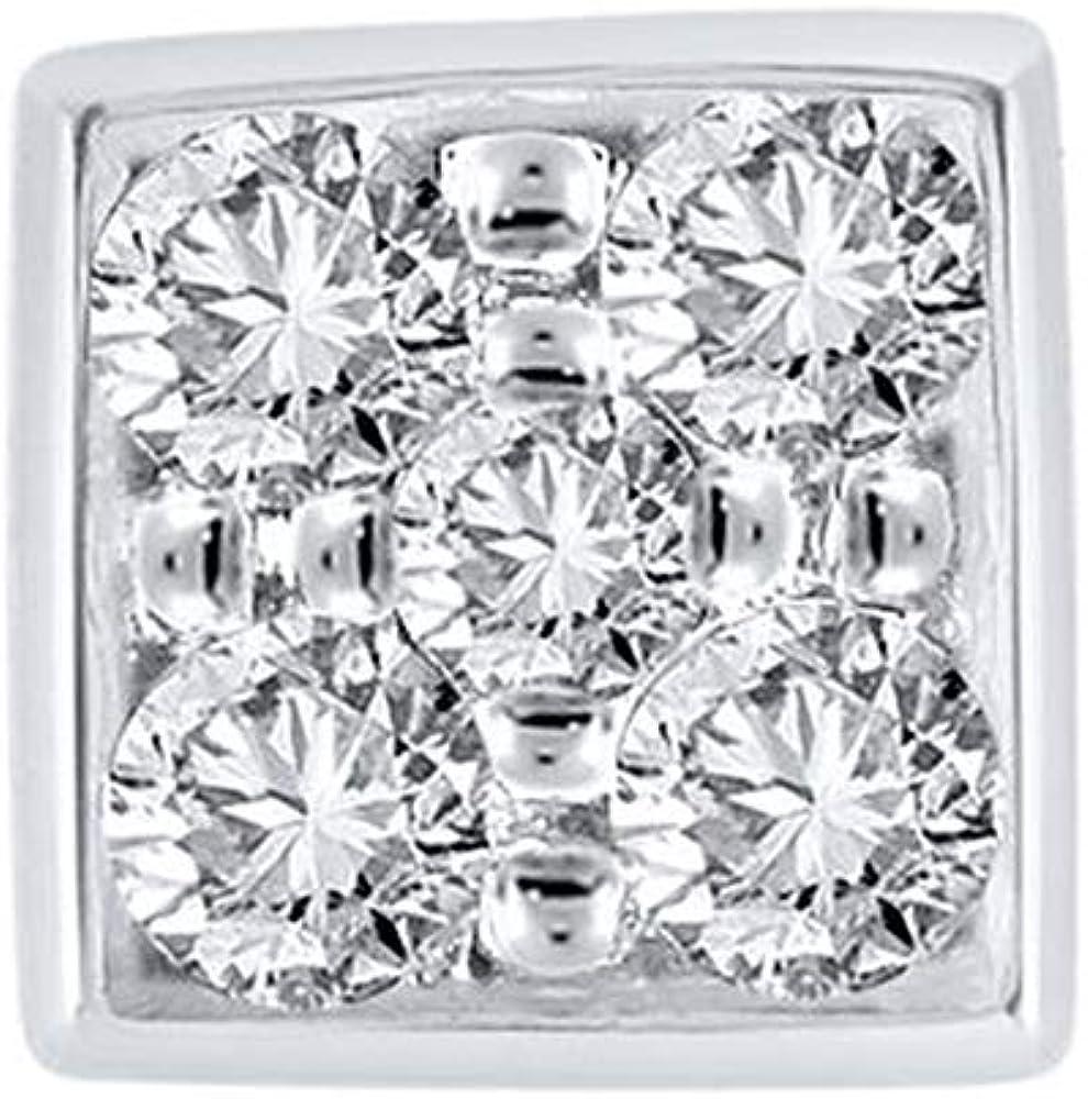 Diamond Wish Round Cut White SINGLE Diamond Earring In 10K White Gold 0.25 cttw