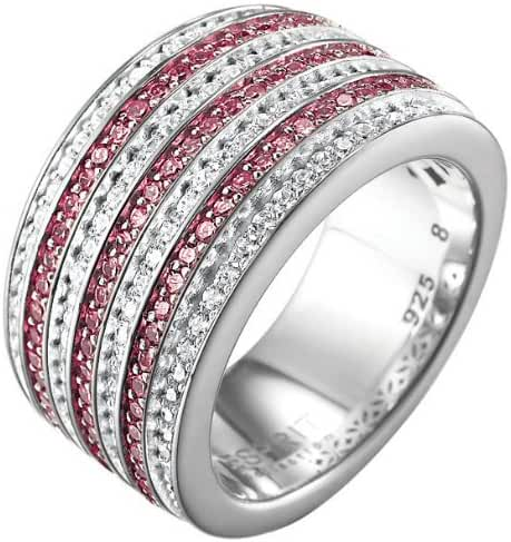 ESPRIT Women's Ring 925 Sterling Silver Rhodium Plated Crystal Zirconia Pallyne Berry Pink Pallyne