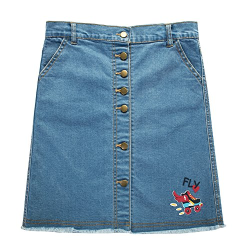 UNACOO Girls' Botton Front Cut-Off Denim Skirt A-line Short Jeans Skirt (Blue/Roller, l(9-10T))