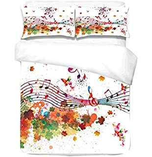 Cliab colorful music notes duvet cover set double 100 cotton 3 3pcs set watercolor splash style very soft fabric world map bedding linens quilt cover bed gumiabroncs Image collections