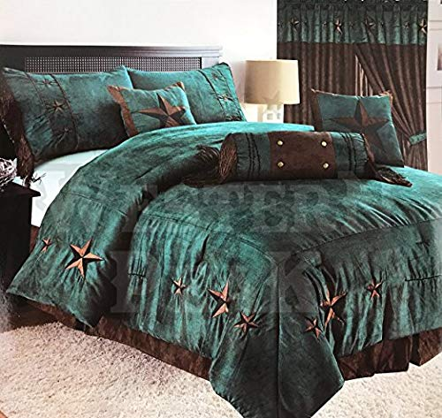 Western Peak Oversize Embroidery Texas Western Star Micro Suede Turquoise Brown Comforter Bedding Suede 7 Pieces Set (King)