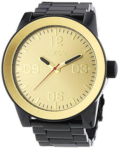 Nixon A346-010 Mens Corporal SS Black Gold Watch ()