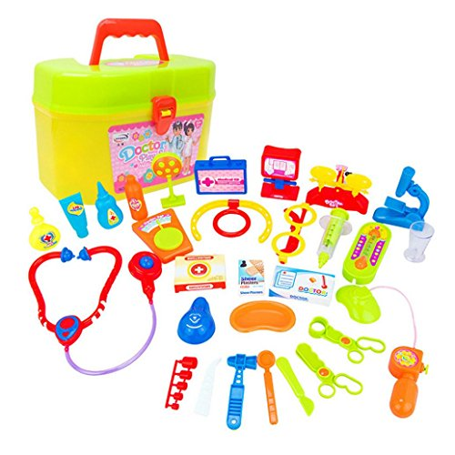 Bell Percussion Kit Carry Case (Boyiya Kids Doctor Kit for Pretend & Play Game-30pcs Kids Baby Doctor Medical Play Carry Set Case Education Role Play Toy Kit)