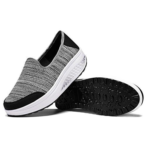 de Gris Sneaker de Mujer de Zapatos Exterior Fitness Zapatillas Casuales Mujer para Zapatilla Mocasines Moda Deporte Plataforma 5v8WqnaTBW