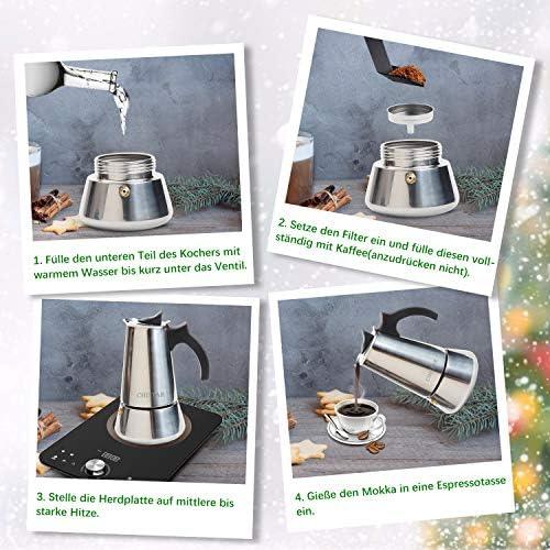 CHISTAR Cafetera Italiana, Cafetera Espresso induccion en Acero Inoxidable, induccion 6 Tazas (300ml): Amazon.es: Hogar