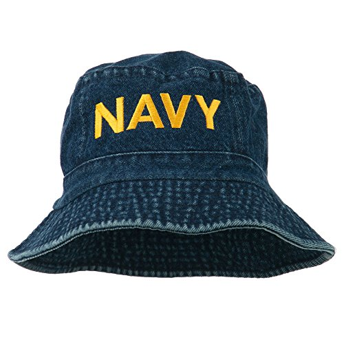 e4Hats.com US Navy Embroidered Pigment Dyed Bucket Hat - Denim -
