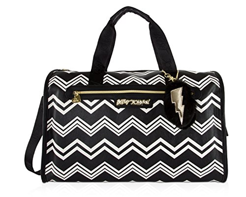 Betsey Johnson Chevron Carry On Weekender Travel Duffel Bag - Black White