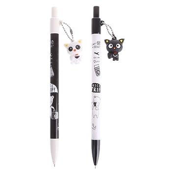 rryilong bolígrafo automático de lápices de plástico de colgante de gato de historieta de 2 pcs 0.5 mm con el lápiz mecánico: Amazon.es: Oficina y papelería