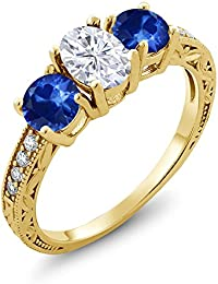 18K Yellow Gold Plated Silver 3-Stone Ring Forever One (GHI) Oval 0.90ct (DEW) Created Moissanite by Charles & Colvard and Sapphire