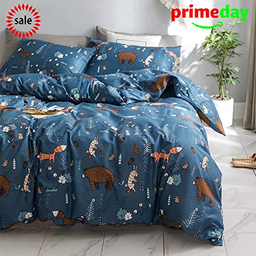 CLOTHKNOW Navy Blue Fox Rabbit Duvet Cover Sets Toddler Kids Child Bedding Sets Twin Size Boys Girls Gift Bear Animal Woodland Theme 100 Cotton 3 pcs - 1 Duvet Cover with Zipper Closure 2 Pillowcases