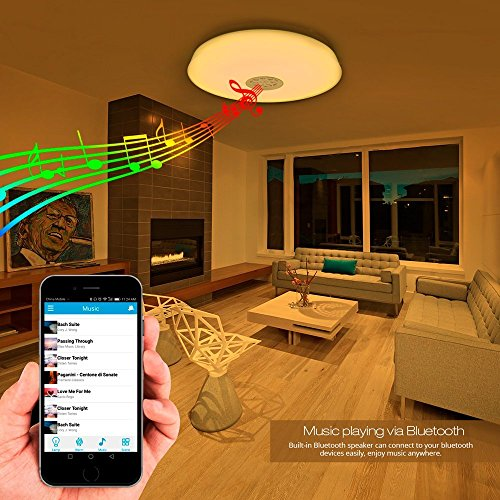 LE 24W Dimmable LED Music Ceiling Lights with Bluetooth Speaker, Cellphone APP Control, RGBW,3000K-6000K Color Temperature, 1500lm, Equal 180W Incandescent/50W Fluorescent, Flush Mount Light by Lighting EVER (Image #3)