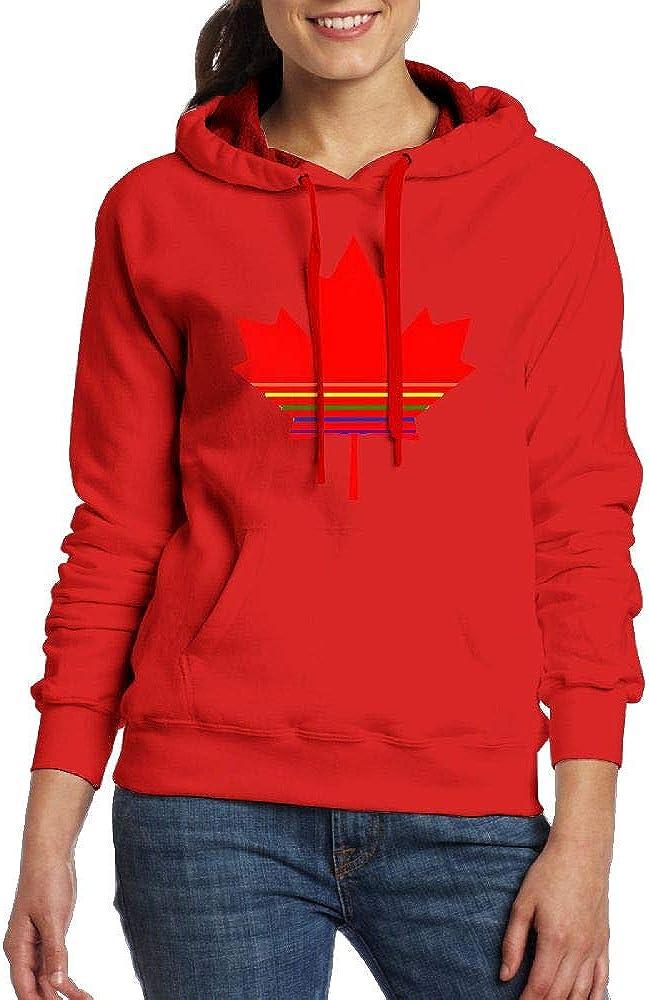 FJKL KLJF Canada Pride Womens Long Sleeve Sweatshirt Blouse Hooded Pullover Shirt