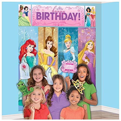 (Amscan Disney Princess Dream Big Birthday Party Scene Setters Wall Decorating Kit (5 Piece), Multicolor, 59