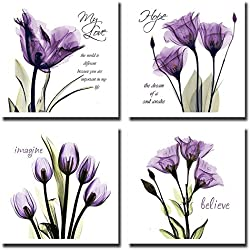 YPY 4pcs Flower Painting Wall Art Giclee Prints Artwork Love Hope Imagine and Believe Purple Pictures Photo on Canvas for Home Walls Decor Ready to Hang (Purple, 12x12in S)