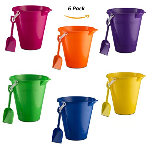 "9"" Beach Pails & Shovels Set (6 Pack) with 2 Water Shooters Great Beach Toys for Boys & (Purple Sand Beach)"