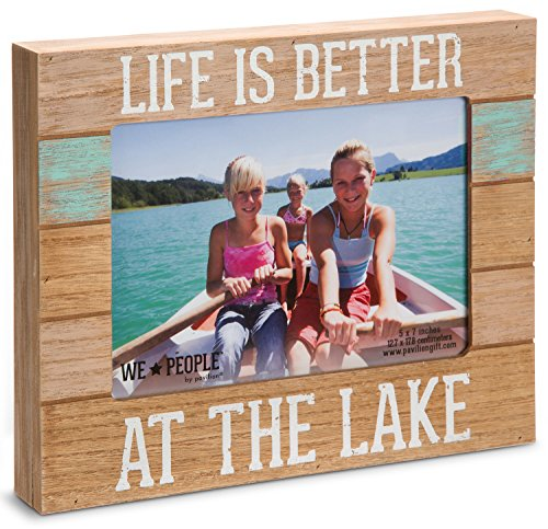 "Pavilion Gift Company 67243 We People-Life is Better at The Lake Picture Frame, 5""x7"" - Made from MDF Holds 5x7 picture Self standing or can be hung - picture-frames, bedroom-decor, bedroom - 51sEKHCsT7L -"