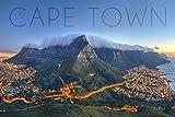 Lantern Press Cape Town, South Africa - Table Mountain (9x12 Art Print, Wall Decor Travel Poster)