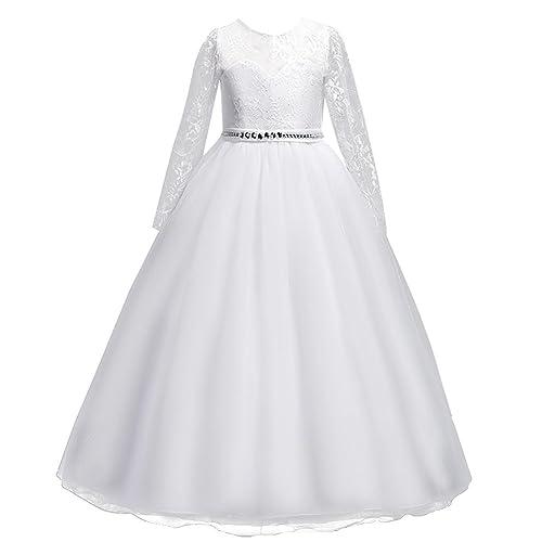 Vestido de niña de Flores para la Boda Princesa Largo Manga Vestidos de Dama De Honor