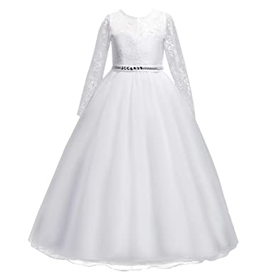 Kids Flower Girls Lace Tulle Long Sleeve Wedding Bridesmaid Communion Birthday Party Princess Dress Formal Pageant