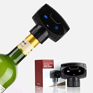 Electric Wine Stoppers,DEKINMAX Reusable Wine Bottle Stopper,Automatic Eletric Vacuum Wine Stopper,Wine Saver Vacuum Pump Keep Wine Fresh,Best Gift Accessories For wine lover