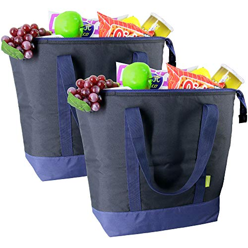Cooler Tote Bags Insulated Grocery ChillOut Thermal Bags Large 50LBS Shopping for Groceries Reusable Freezer Bag with Zippered Top for Hot and Cold Food Transport 2 Pack Black
