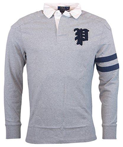 Polo Ralph Lauren Men's Custom Fit Applique Logo Knit Rugby Shirt Tee, XL, Grey