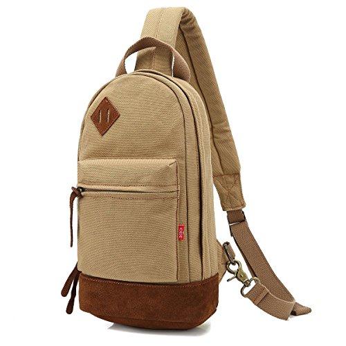Men's Canvas Satchel Chest Pack Sling Cross Body Handbag Messenger Shoulder Bag.PSCHJL by PSCHJL