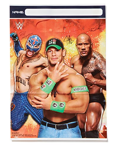 """Hot Amscan Grand Slammin' WWE Birthday Party Plastic Favour Loot Bags (8 Pack), Multi Color, 9"""" x 6 1/2."""