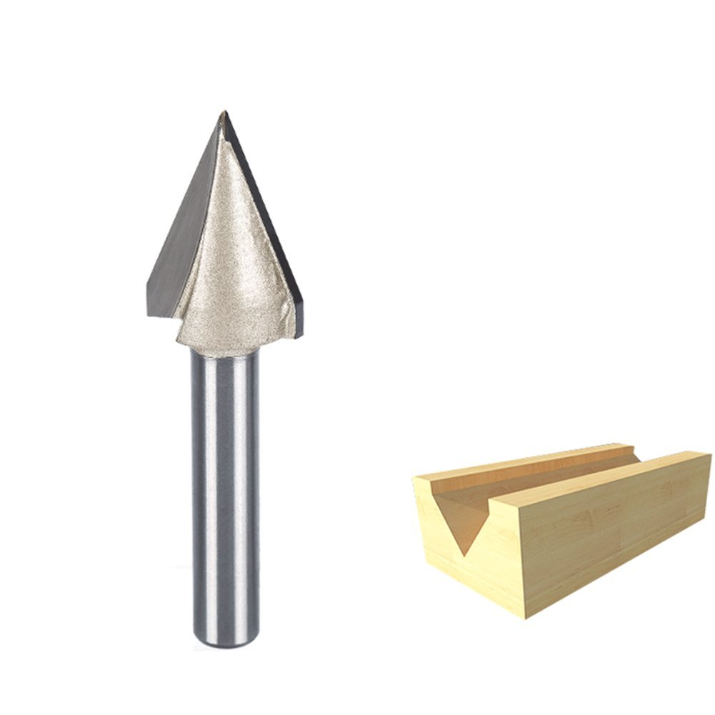 HUHAO 45 Degree Router Bits V-Groove Bit Cutting Tool with 19/32-Inch Cutting Diameter And 1/4-Inch Shank
