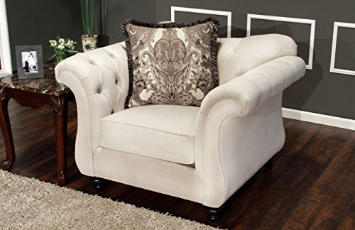Furniture of America Ivorah Glamorous Arm Chair, Cream White