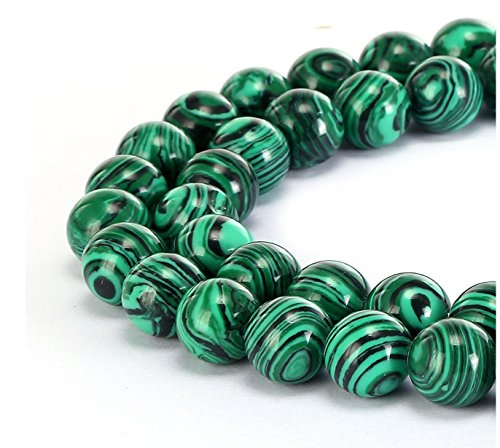 Top Quality Synthetic Green Malachite Gemstone 8mm Round Loose Gems Stone Beads 15 Inch for Jewelry Craft Making ()