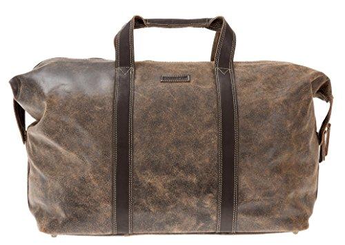 BAYERNBAG Leder Vintage Tasche WEEKENDER XL Reisetasche mit Schultergurt BRAUN