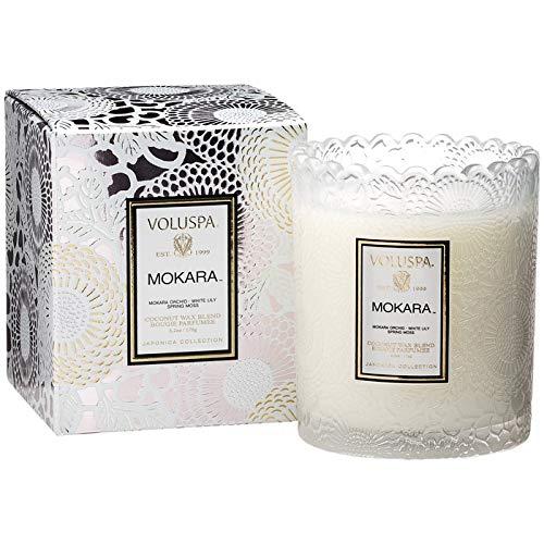 (Voluspa Mokara Scalloped Edge Boxed Glass Candle, 6.2 ounces)