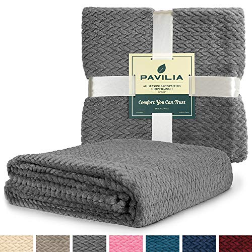 (PAVILIA Luxury Soft Plush Dark Grey Throw Blanket for Sofa, Couch | Velvet Fleece Chevron Textured Throw | Cozy Lightweight Microfiber, Reversible Charcoal Gray Blanket | All Season | 50 x 60 Inches)