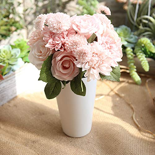 Lemax Artificial Flowers,10 Heads Rose Dahlia Daisy Fake Flower Arrangement Bridal Wedding Bouquets for Home Garden Party Office Décor (Princess Champagne)