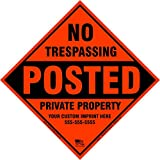 x100 Customized Metal Diamond No Trespassing Posted Sign with Your Information (Orange)