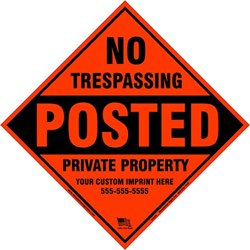 X100 Customized Metal Diamond No Trespassing Posted Sign With Your Information  Orange