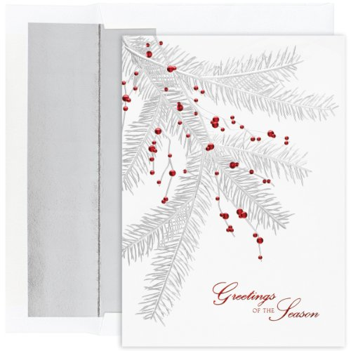 Berries Boxed (Silver Branch With Berries Boxed Holiday Cards)