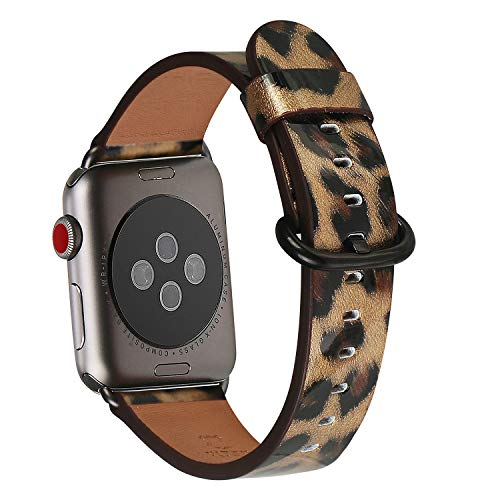 WFEAGL Compatible iWatch Band 42mm 44mm, Top Grain Leather Band Replacement Strap for iWatch Series 4,Series 3,Series 2,Series 1,Sport, Edition (Leopard Band+Black Adapter,42mm 44mm) ()