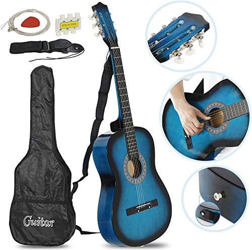 """Smartxchoices 6 String 38"""" Acoustic Guitar w/Gig Bag Strap Pitch Pipe Extra Strings Set Pick for Kids Beginners Starter Youths Students Right-handed(Blue)"""