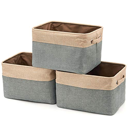 Storage Baby Baskets (EZOWare Set of 3 Collapsible Large Cube Fabric Linen Canvas Storage Bins Baskets for Shelves Cubby Laundry Playroom Closet Clothes Shoe Baby Toy with Handles (Brown/Gray))