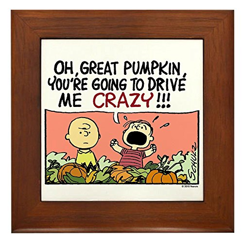 CafePress Crazy Pumpkin Framed Tile, Decorative Tile Wall Hanging]()